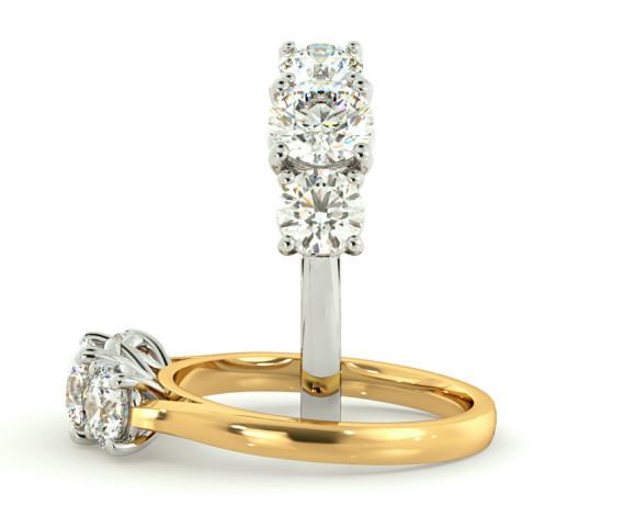 Round 3 Stone Diamond Ring - HRRTR167 - 360 animation