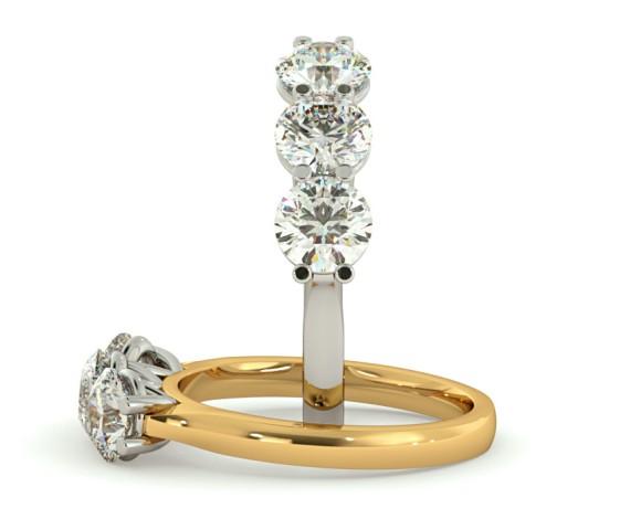 3 Round Diamonds Trilogy Ring - HRRTR176 - 360 animation