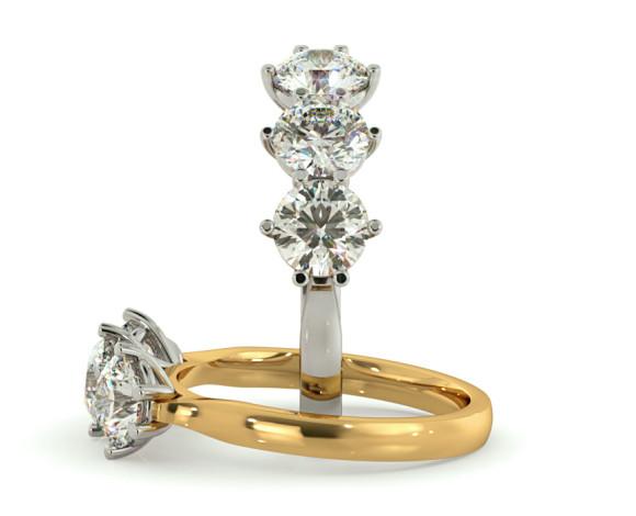 3 Round Diamonds Trilogy Ring - HRRTR189 - 360 animation