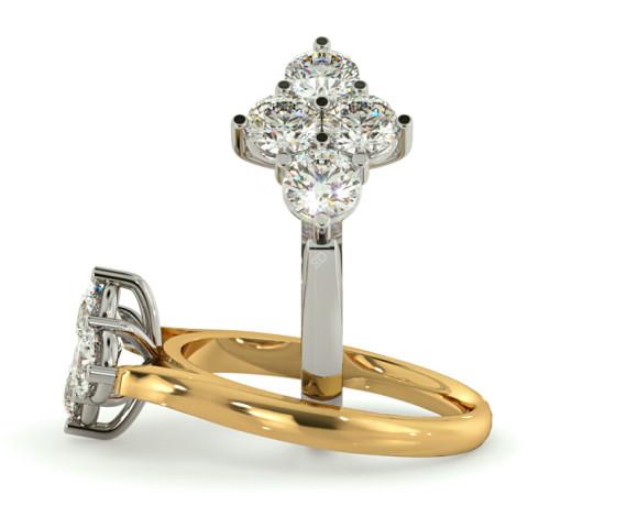 Round 4 Stone Diamond Ring - HRRTR198 - 360 animation