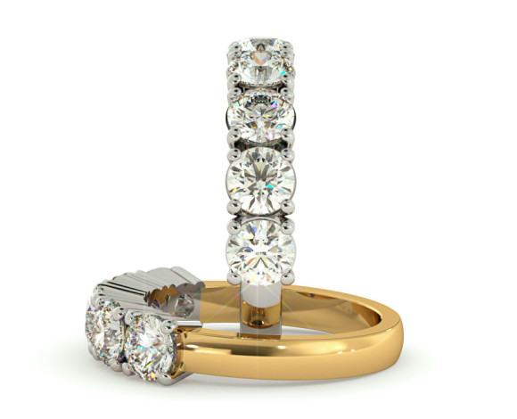 Round 5 Stone Diamond Ring - HRRTR203 - 360 animation
