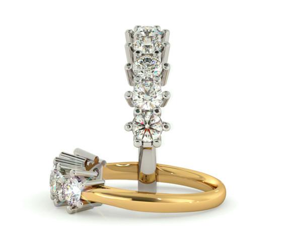 Round 5 Stone Diamond Ring - HRRTR205 - 360 animation