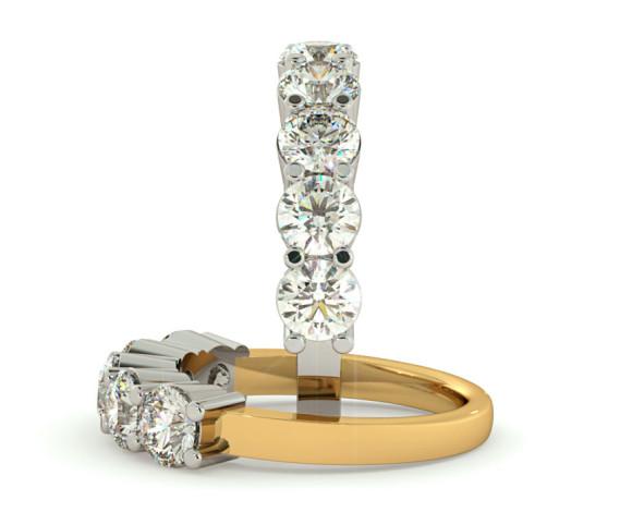Round 5 Stone Diamond Ring - HRRTR206 - 360 animation