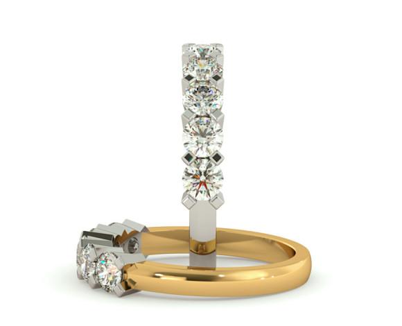 Round 5 Stone Diamond Ring - HRRTR207 - 360 animation