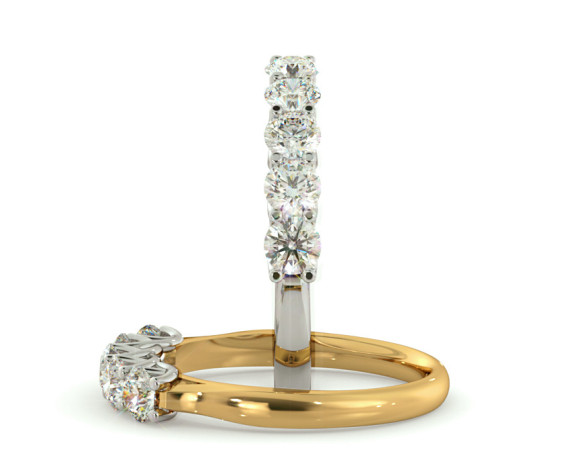 Round 5 Stone Diamond Ring - HRRTR212 - 360 animation