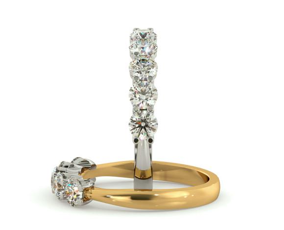 Round 5 Stone Diamond Ring - HRRTR213 - 360 animation