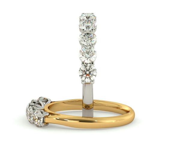 Round 5 Stone Diamond Ring - HRRTR215 - 360 animation