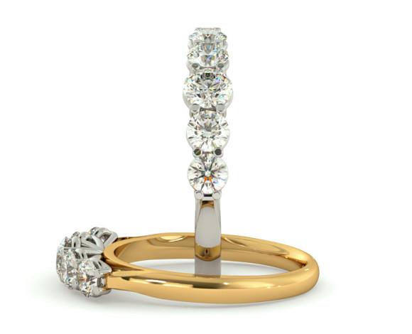 Round 5 Stone Diamond Ring - HRRTR217 - 360 animation