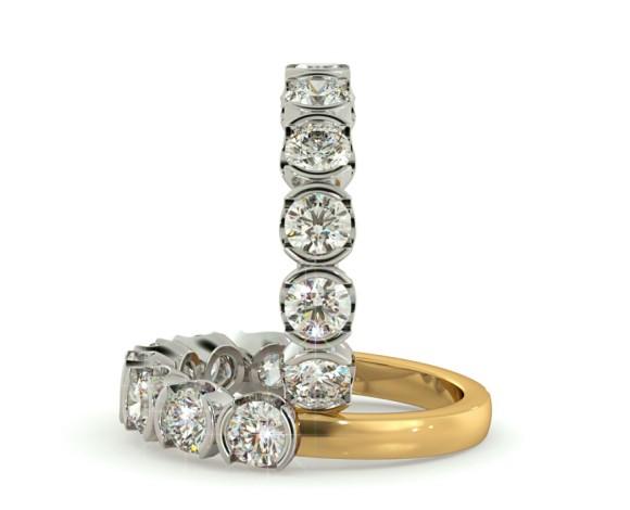 Round 7 Stone Diamond Ring - HRRTR226 - 360 animation