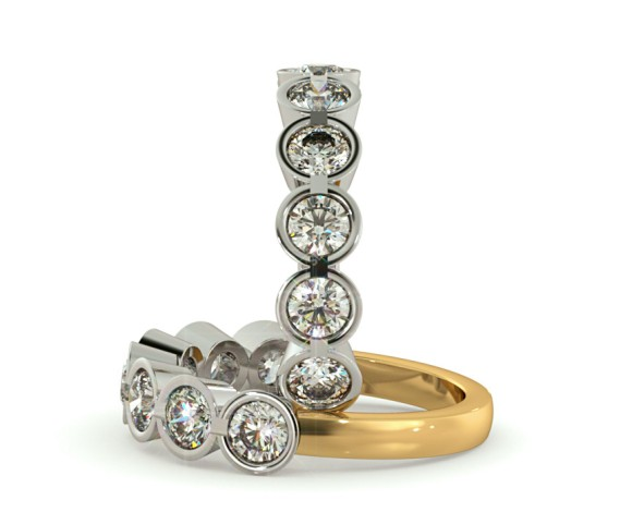 Round 7 Stone Diamond Ring - HRRTR227 - 360 animation