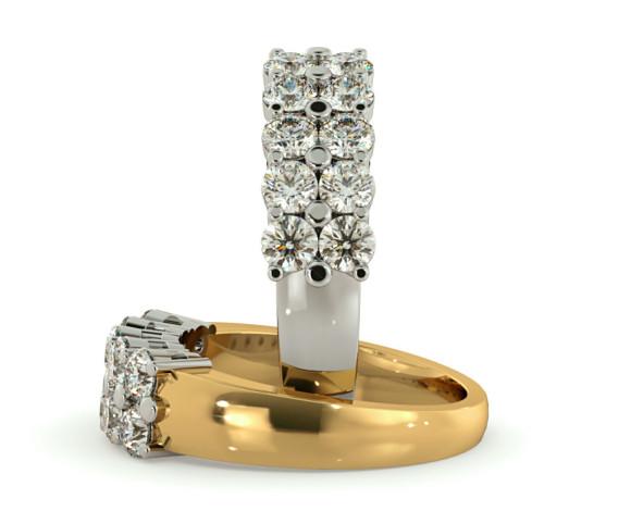 Round Cluster 10 Stone Diamond Ring - HRRTR230 - 360 animation