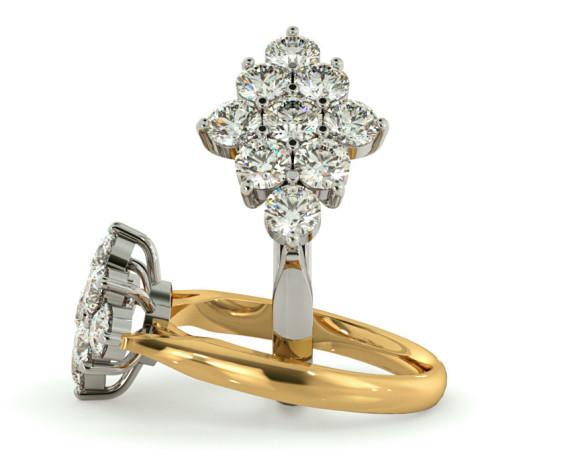 Round 9 Stone Diamond Ring - HRRTR238 - 360 animation