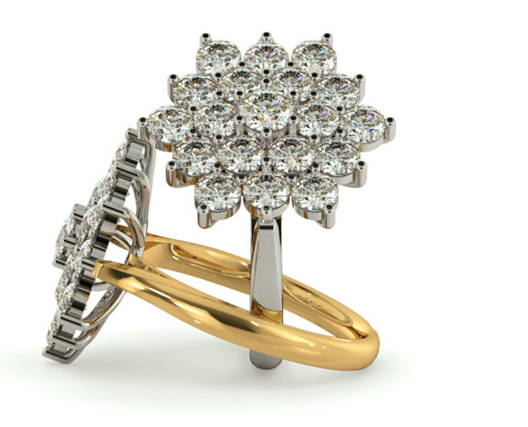 Round Cluster Diamond Ring - HRRTR240 - 360 animation
