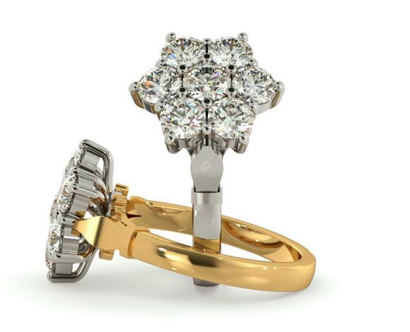 Round Cluster 7 Stone Diamond Ring - HRRTR241 - 360 animation