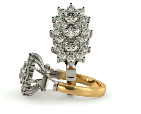 Round Cluster Diamond Ring - HRRTR242 - 360 animation