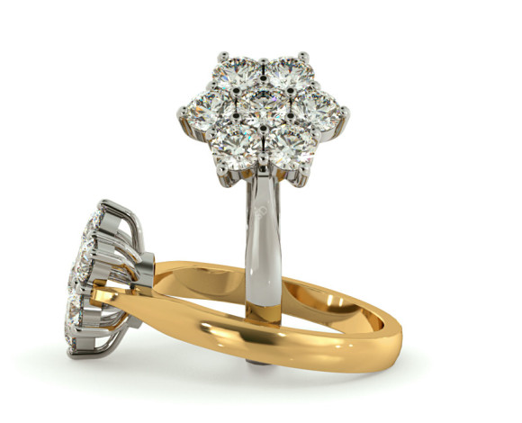 Round Cluster 7 Stone Diamond Ring - HRRTR244 - 360 animation