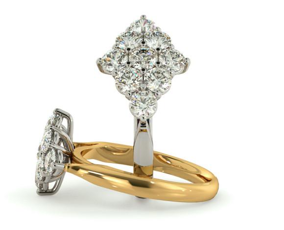 Round 9 Stone Diamond Ring - HRRTR248 - 360 animation