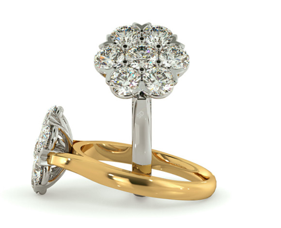 Round Cluster 7 Stone Diamond Ring - HRRTR253 - 360 animation