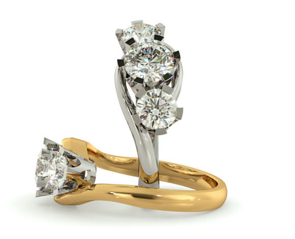 Round 3 Stone Diamond Ring - HRRTR258 - 360 animation
