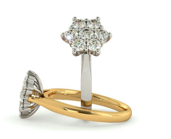 Round Cluster 7 Stone Diamond Ring - HRRTR259 - 360 animation