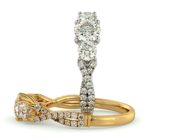 Round cut Twisted Shoulders 3 Stone Diamond Engagement Ring - HRRTR734 - 360 animation