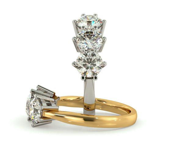 3 Round Diamonds Trilogy Ring - HRRTR90 - 360 animation