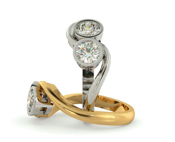 Twin Round Diamond Ring - HRRTW85 - 360 animation