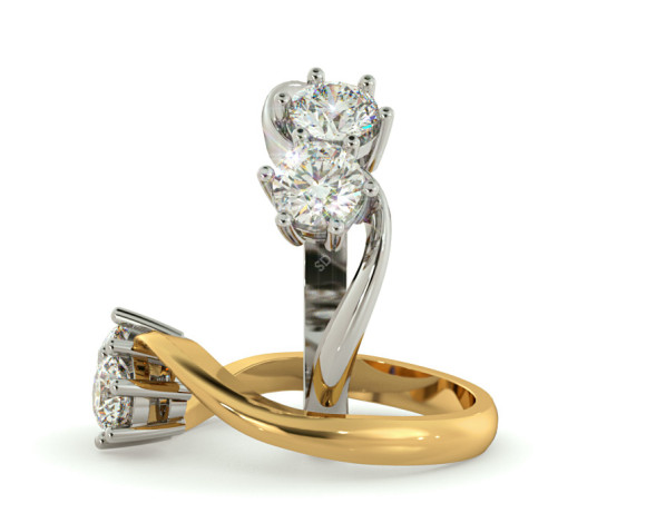 Twin Round Diamond Ring - HRRTW87 - 360 animation