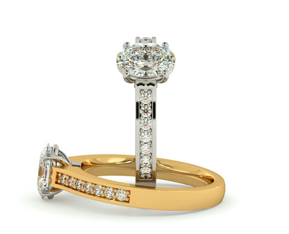 Oval Shoulder Diamond Ring - HRXSD449 - 360 animation