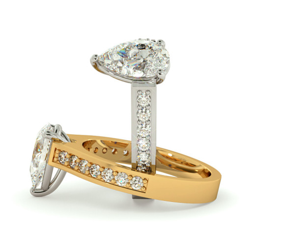Pear Shoulder Diamond Ring - HRXSD453 - 360 animation