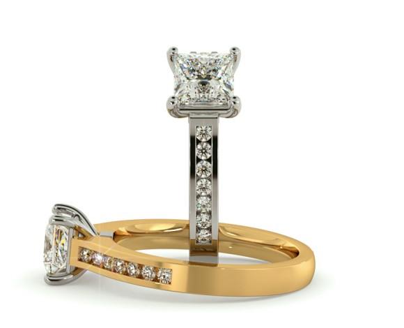 Princess Shoulder Diamond Ring - HRXSD454 - 360 animation