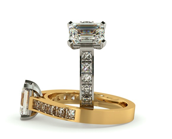 Four Prongs Emerald cut Diamond Ring with Accent stones - HRXSD534 - 360 animation