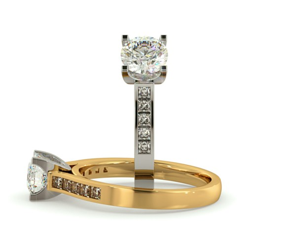 U Claw Round cut Diamond Ring with Accent Stones - HRXSD535 - 360 animation