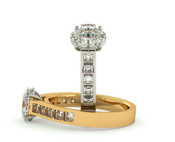Oval Shoulder Diamond Ring - HRXSD536 - 360 animation