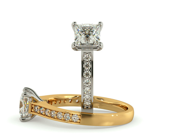 V Prongs Princess cut  Diamond Ring with Grain Set Accent stones - HRXSD580 - 360 animation