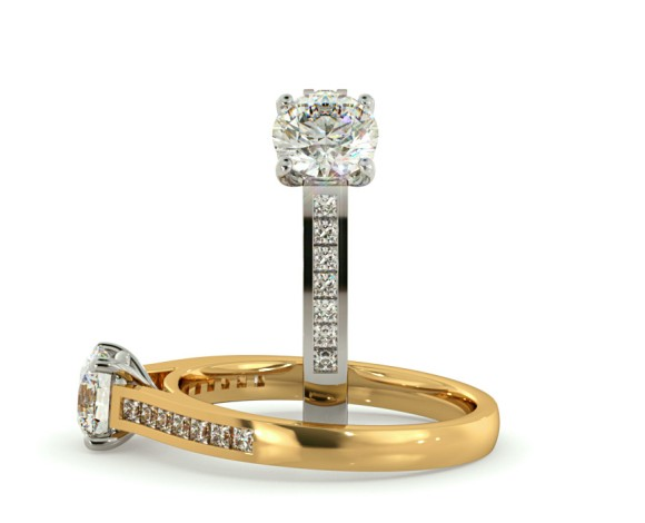 4 Claws Princess cut  Diamond Ring with Accent Stones - HRXSD583 - 360 animation