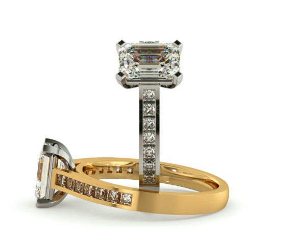 Emerald Shoulder Diamond Ring - HRXSD584 - 360 animation