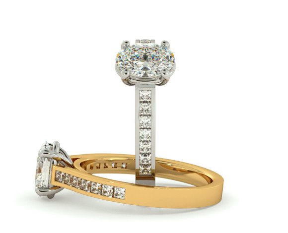 Oval Shoulder Diamond Ring - HRXSD586 - 360 animation