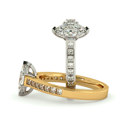 Marquise Shoulder Diamond Ring - HRXSD601 - 360 animation