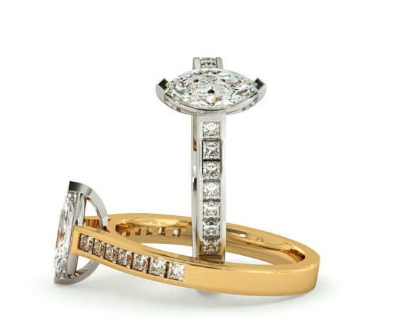 Marquise Shoulder Diamond Ring - HRXSD603 - 360 animation