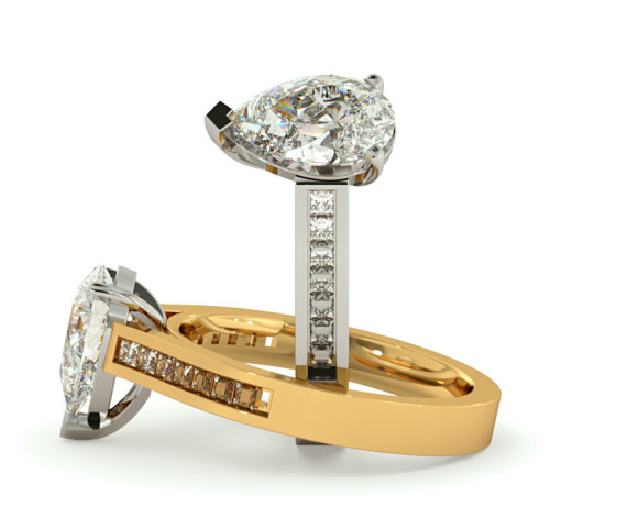 Pear Shoulder Diamond Ring - HRXSD605 - 360 animation