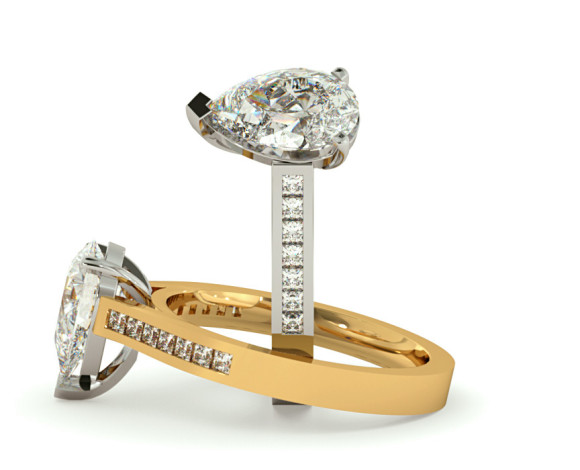 Pear Shoulder Diamond Ring - HRXSD606 - 360 animation