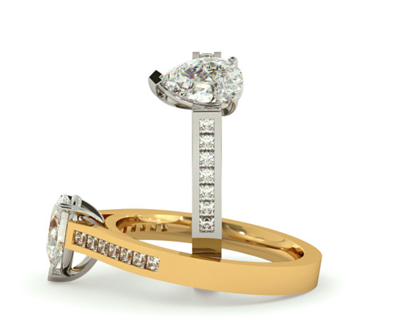 Pear Shoulder Diamond Ring - HRXSD607 - 360 animation