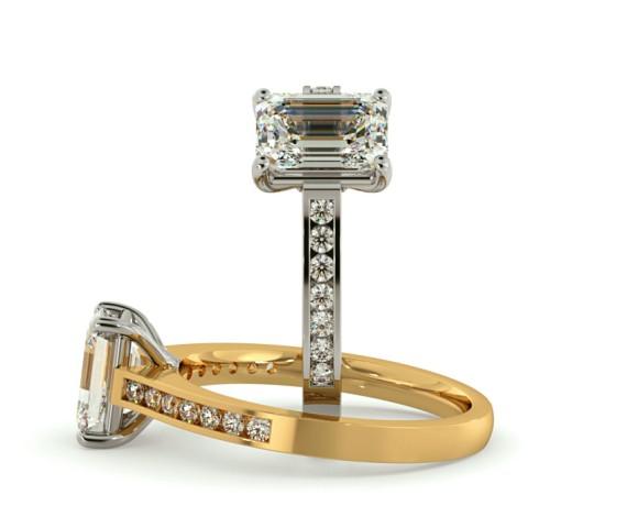 Emerald Shoulder Diamond Ring - HRXSD609 - 360 animation