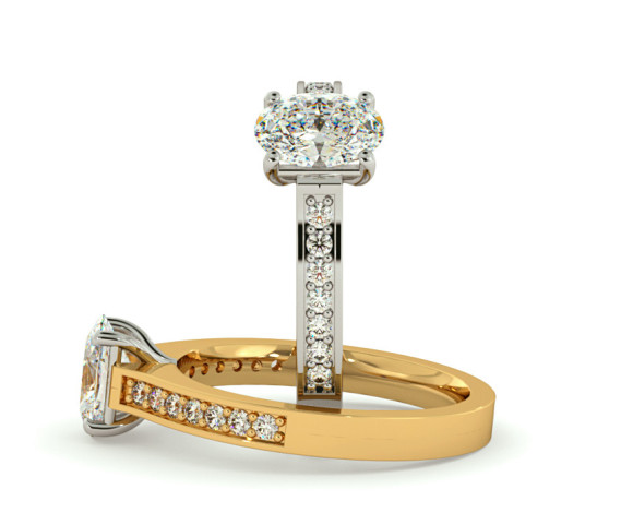 Oval Shoulder Diamond Ring - HRXSD612 - 360 animation