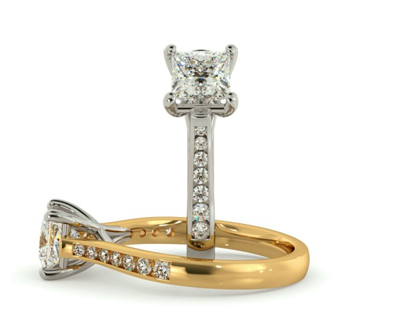 Crossover Setting Princess cut Shoulder Diamond Ring - HRXSD630 - 360 animation