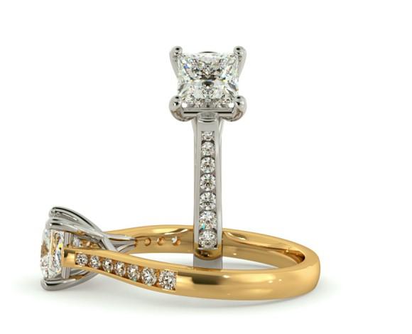 Crossover Setting Princess cut Shoulder Diamond Ring - HRXSD630 - 360 animation