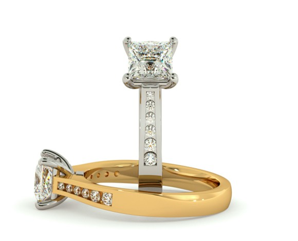 Princess Shoulder Diamond Ring - HRXSD635 - 360 animation