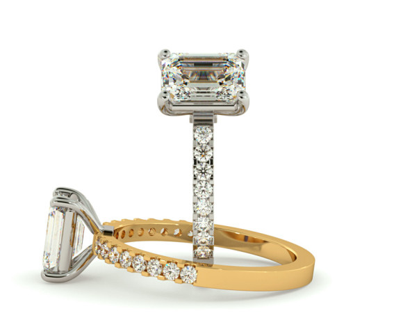 Emerald Shoulder Diamond Ring - HRXSD646 - 360 animation
