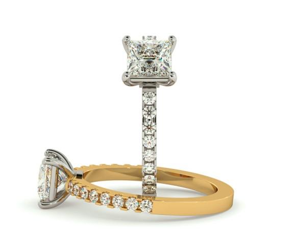Princess Shoulder Diamond Ring - HRXSD649 - 360 animation
